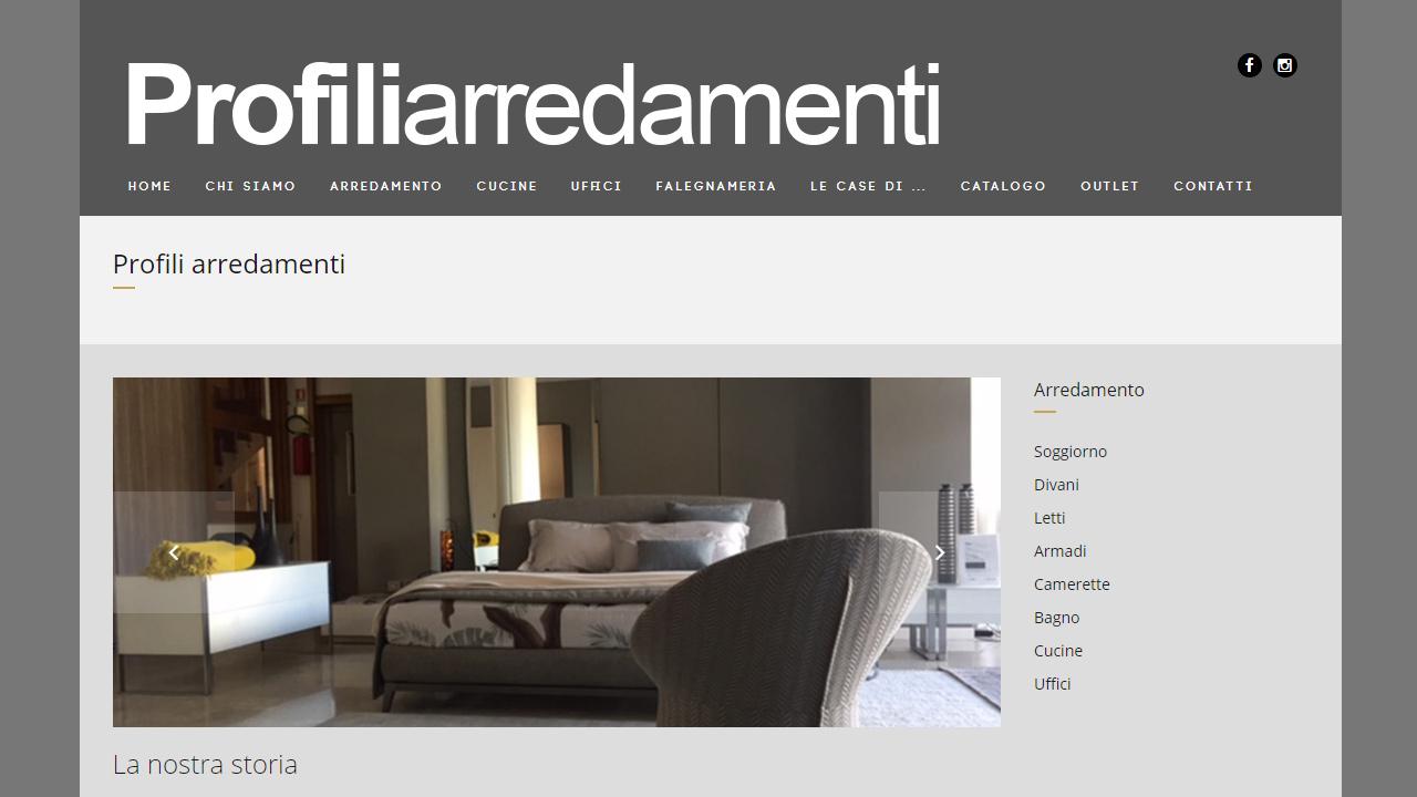 Realizzazione sito web profili arredamenti mocart studio for Profili arredamenti