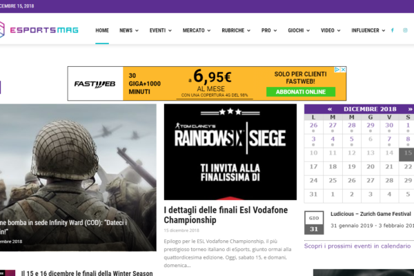 Sviluppo sito web esportsmag.it